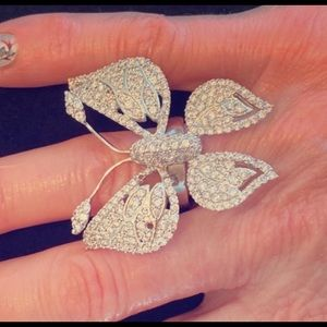Rhodium Cubic Zirconia Butterfly Ring